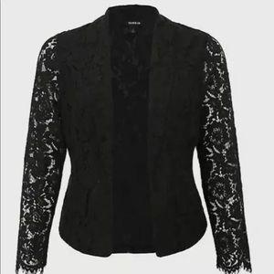 Torrid Black Lace Open Front Blazer Women's Size 4